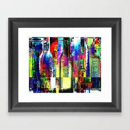 Colorful Glass Bottles Collage Framed Art Print