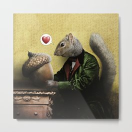 Mr. Squirrel Loves His Acorn! Metal Print