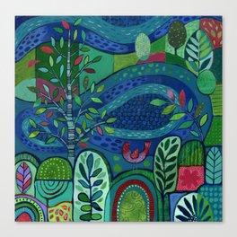 Bird by the Pond Canvas Print