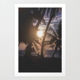 Sunset beach. San Blas, Panama Art Print