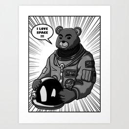 Space Bear Comic Art Print
