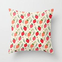 Spring Strawberries Garden Throw Pillow