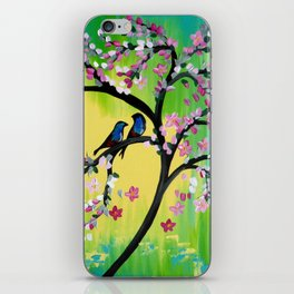 Green With Pink Blossoms iPhone Skin