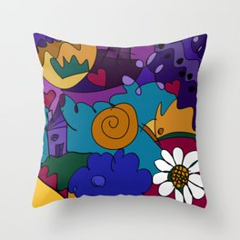 """""""Before the Celebration"""" bold, colorful doodle art Throw Pillow"""