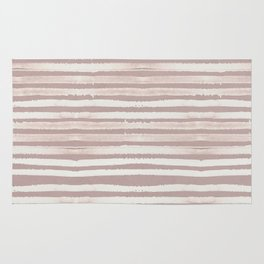 Simply Shibori Stripes Lunar Gray on Clay Pink Rug