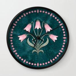 Art Nouveau Bellflower Emerald Green and Pink Wall Clock
