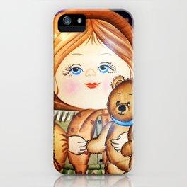 Matrioska. Little girl with teddy bear. iPhone Case