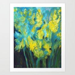 Impressionist summer yellow daffodil garden Art Print
