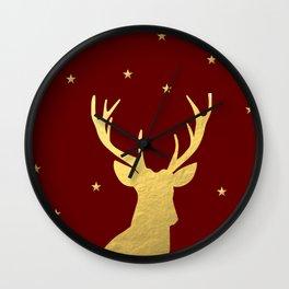 Gold Xmas Deer Wall Clock