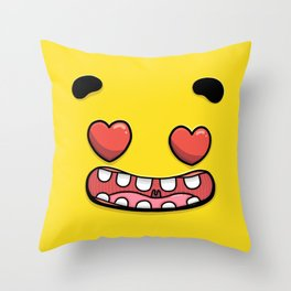 Yellow Smileys - In Love Throw Pillow