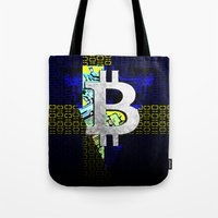 sweden Tote Bags featuring bitcoin sweden by seb mcnulty