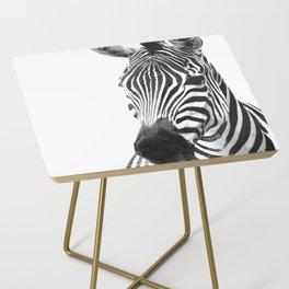 Black and white zebra illustration Side Table