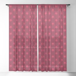 Crimson Red on Burgundy Red Stars Sheer Curtain