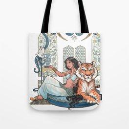 Every Girl Is A Princess 03: Arabian Nights Art Nouveau Aladdin's Princess Jasmine and Rajah Tote Bag