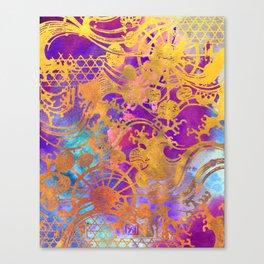 Japanese Stencil Pattern #2 | Flowing Water Waterwheel Basket Weave | Gold & Pink  Watercolor Canvas Print