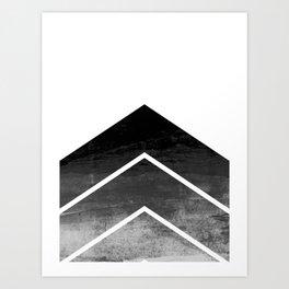 Black Ombre Chevron Art Print