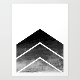 Black Ombre Chevron Art Print
