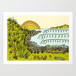 point breaks in paradise // retro surf art by surfy birdy Art Print