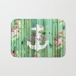 Vintage Floral Nautical Anchor Green Beach Wood Bath Mat