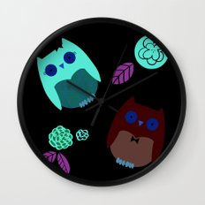 Owls with flowers Wall Clock