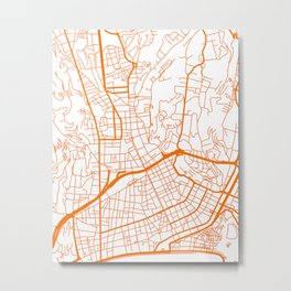 Street MAP Nice // Orange Metal Print