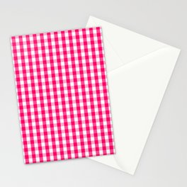 Hot Neon Pink and White Gingham Check Stationery Cards