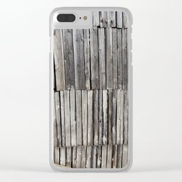 damaged old pine shed Clear iPhone Case