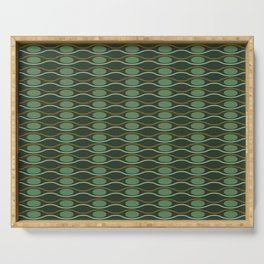 Geometric pattern with waves and pebbles in green Serving Tray