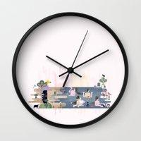 boob Wall Clocks featuring Peek-a-Boob by Manuja Waldia