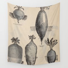 Vintage Illustration of Various Turnips (1897) Wall Tapestry