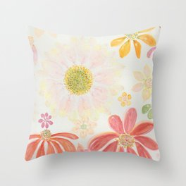 Dreamy Daisy Pink, Yellow and Red Watercolor Flowers Throw Pillow