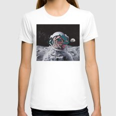 Spaceman oh spaceman, come rescue me (teal) MEDIUM Womens Fitted Tee White