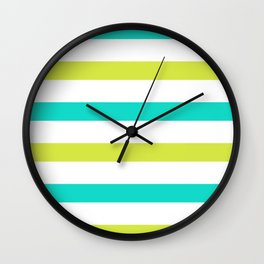 Green and Yellow Horizontal Stripes Wall Clock