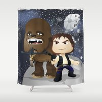 han solo Shower Curtains featuring Han Solo & Chewbacca by 7pk2 online