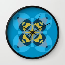 019 Abstract dark blue, yellow and cyan art for office decoration Wall Clock