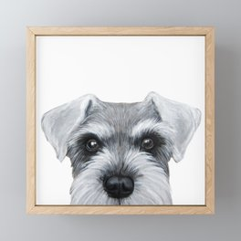 Schnauzer Grey&white, Dog illustration original painting print Framed Mini Art Print