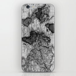 Vintage Map of The World (1833) White & Black iPhone Skin