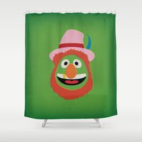 muppets Shower Curtains featuring The Muppets Show Vintage Art Dr Teeth Electric Mayhem Retro Style Minimalist Poster Print by The Retro Inc