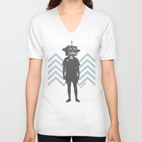 sci fi V-neck T-shirts featuring Sci-Fi Geek by Jade Deluxe