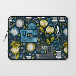 Garden of Sewing Supplies - Navy Laptop Sleeve