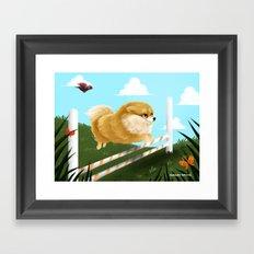 Pomeranian JUMP Framed Art Print