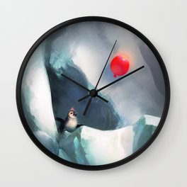 Heart Penguin Wall Clock