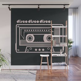 Black and White Disco Music Cassette Wall Mural