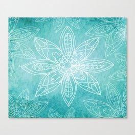 Teal Flowers Canvas Print
