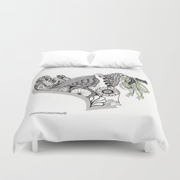 Zentangle Illustration - Peace Dove  Duvet Cover