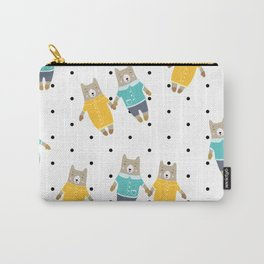 Cute bears in dotted background Carry-All Pouch