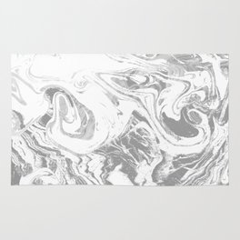 Suminagashi japanese spilled ink grey watercolor painting minimalist abstract marble marbling Rug