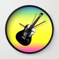 woodstock Wall Clocks featuring Woodstock by Nicko-Suave Art
