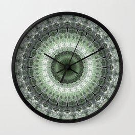 Mandala in green and gray tones Wall Clock