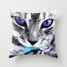 Purple eyes Cat Throw Pillow